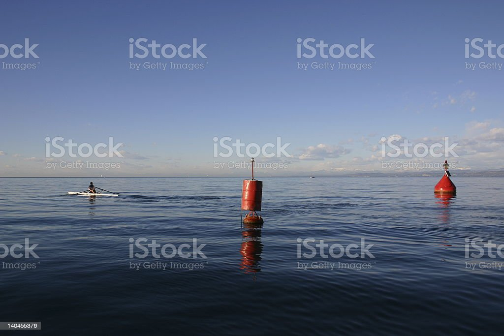 Man in the boat royalty-free stock photo
