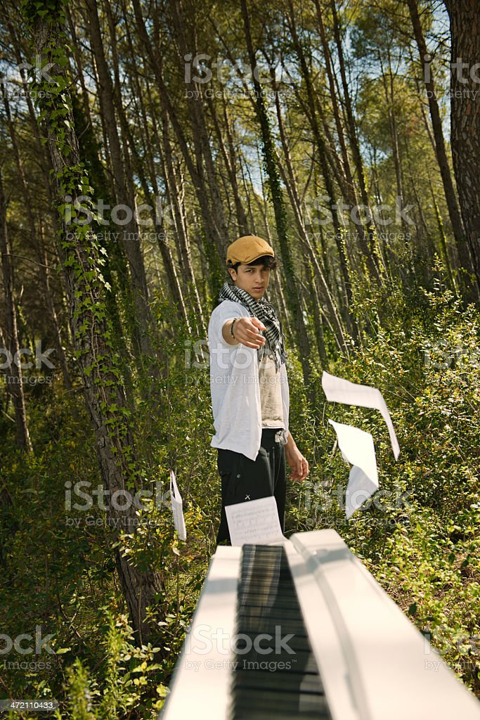 Man in the forest stock photo