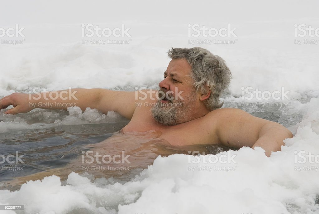 man in the ice-hole royalty-free stock photo