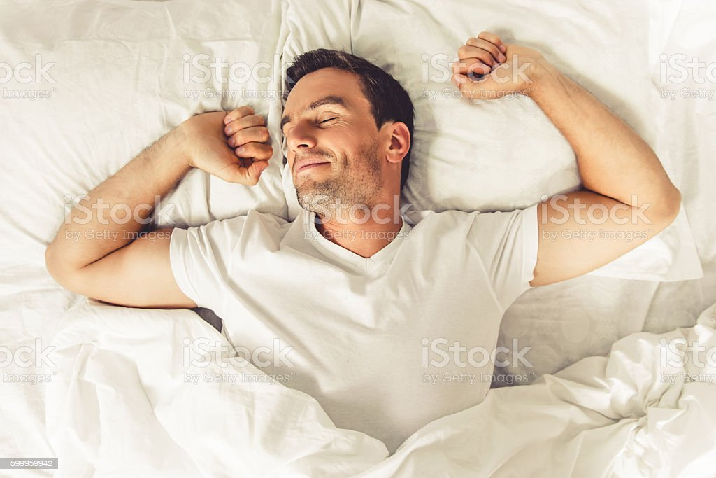 Man in the morning stock photo