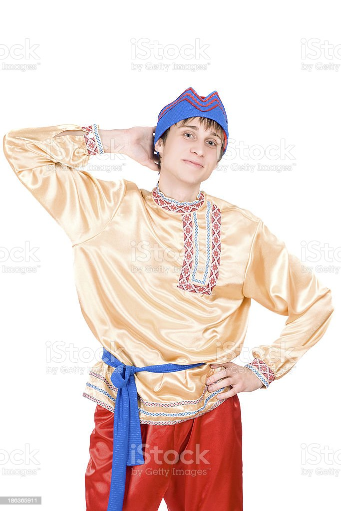 man in the Russian national costume. Isolated stock photo