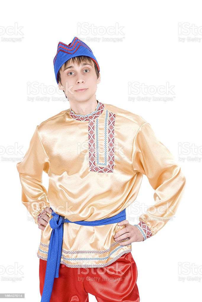 man in the Russian national costume stock photo