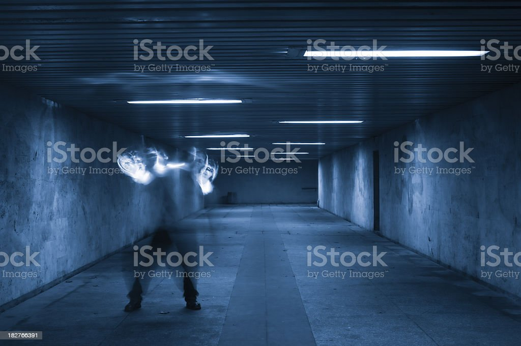 Man in the tunnel royalty-free stock photo