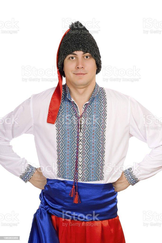man in the Ukrainian national costume stock photo