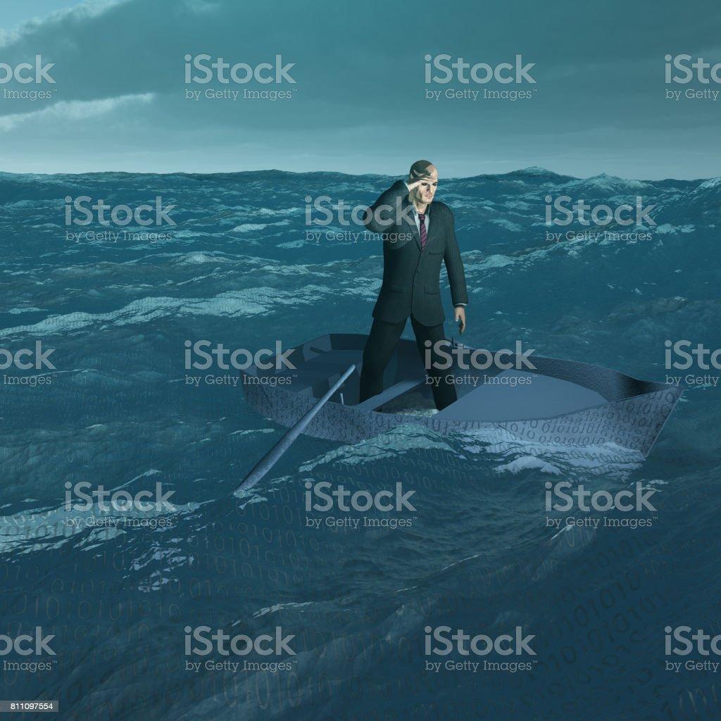 Man in tiny boat on choppy sea stock photo