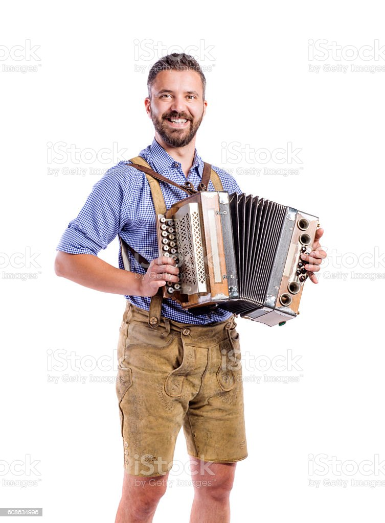 Man in traditional bavarian clothes playing accordion. Oktoberfe – Foto