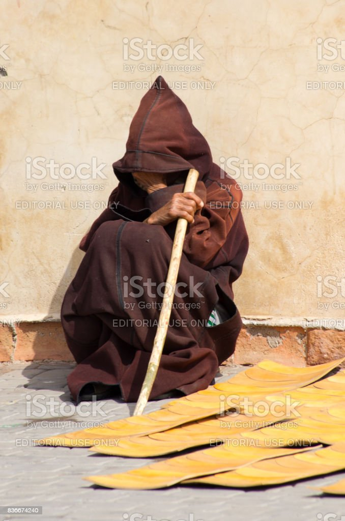 Man in traditional outfit, Morocco stock photo