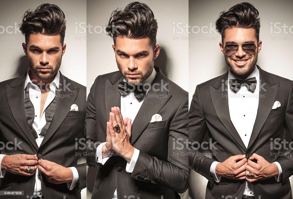 man in tuxedo, unbuttoning his coat and praying stock photo