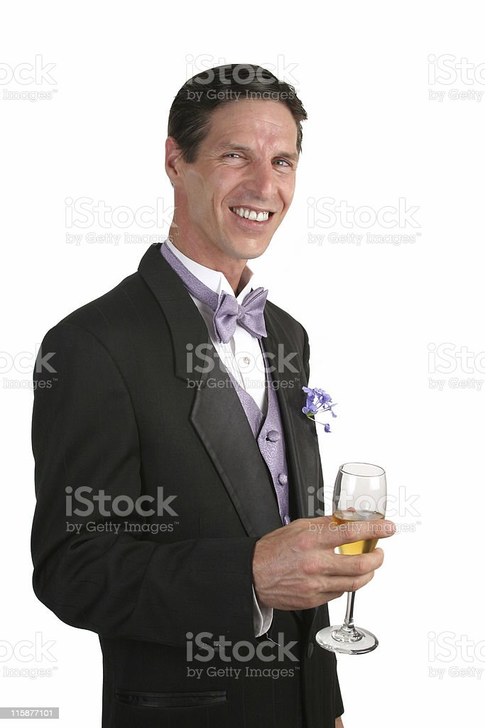 Man In Tuxedo With Champagne royalty-free stock photo