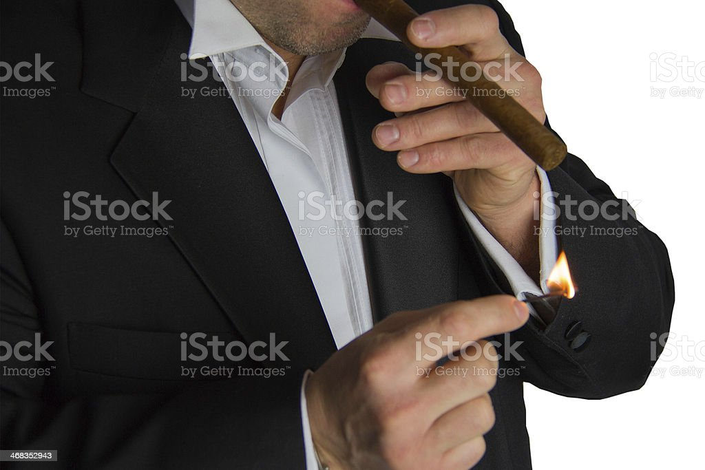 Man in tuxedo with cigar royalty-free stock photo