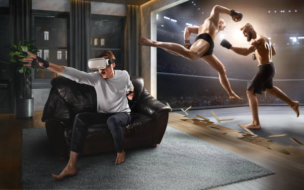 Mann in VR-Brille. Virtual Reality mit Mixed Martial Arts – Foto