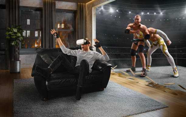 Mann in VR-Brille. Virtual Reality mit Wrestling – Foto