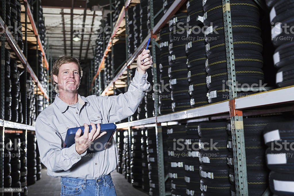 Man in warehouse royalty-free stock photo