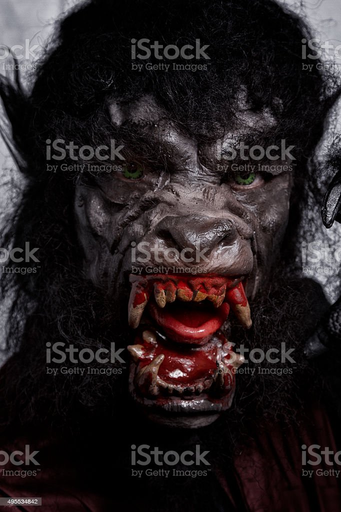 Man in warewolf costume stock photo