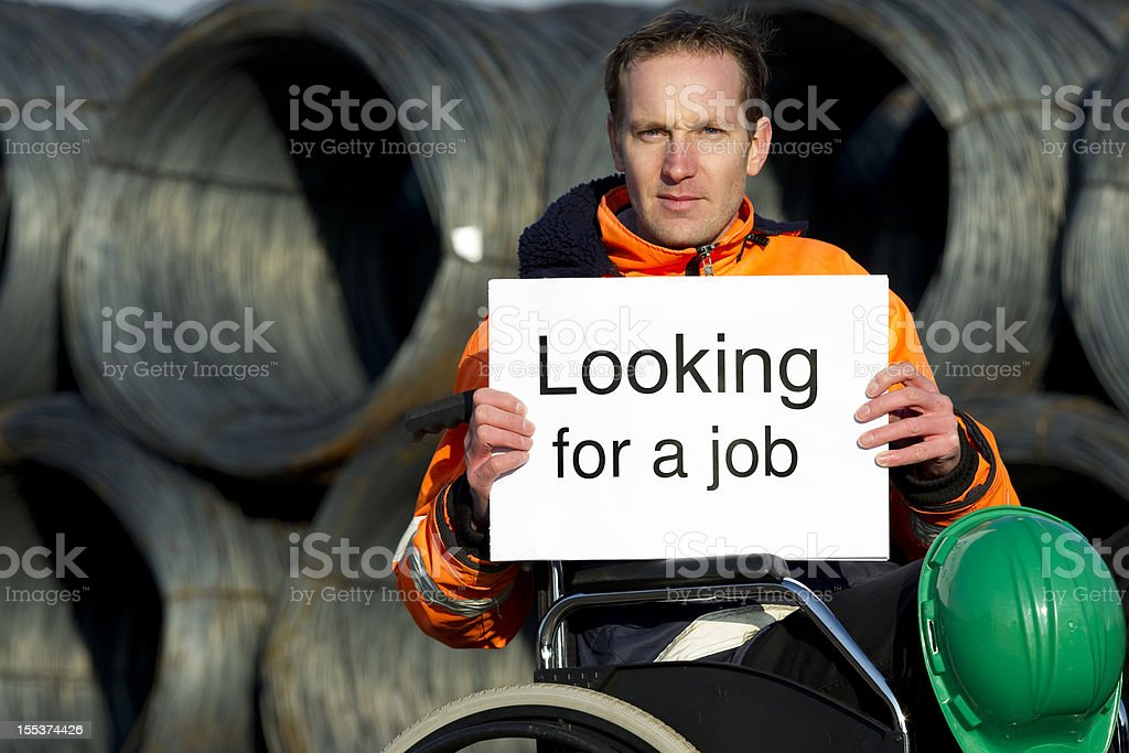 Man in wheelchair needs work, unemployed royalty-free stock photo
