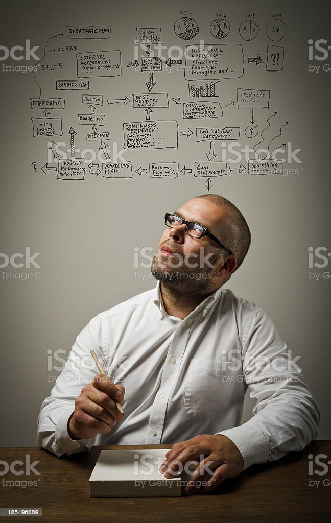 Man in white and plan royalty-free stock photo