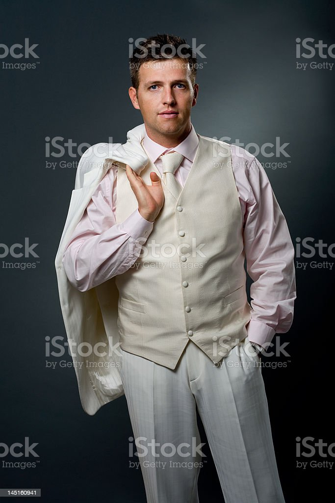 Man in white suit royalty-free stock photo