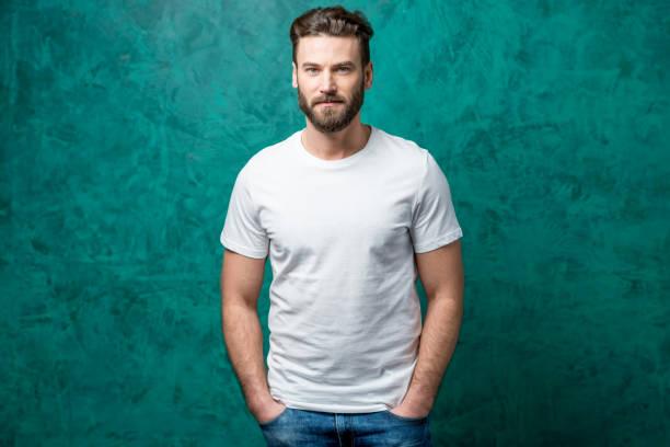 Man in white t-shirt stock photo