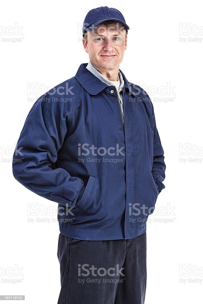 Man in Workman's Attire stock photo
