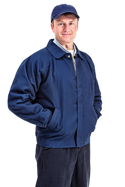 Man in Workman's Attire stock photo