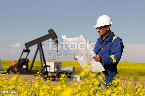 An oil company worker in a blue company uniform and white hardhat stands in a field of billowy yellow flowers stretching endlessly into the distance.  He studies a set of blueprints near a black pumpjack and other equipment in the background,