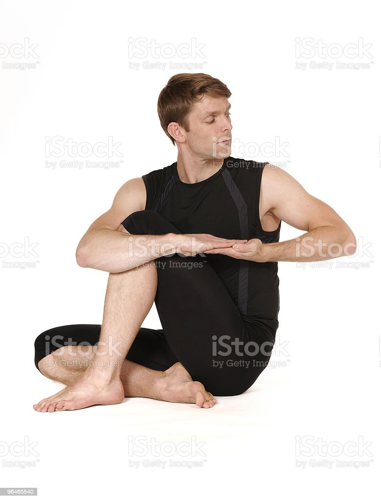 man in yoga position royalty-free stock photo