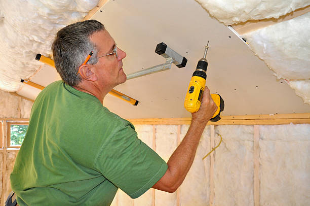 Man installing drywall on ceiling stock photo