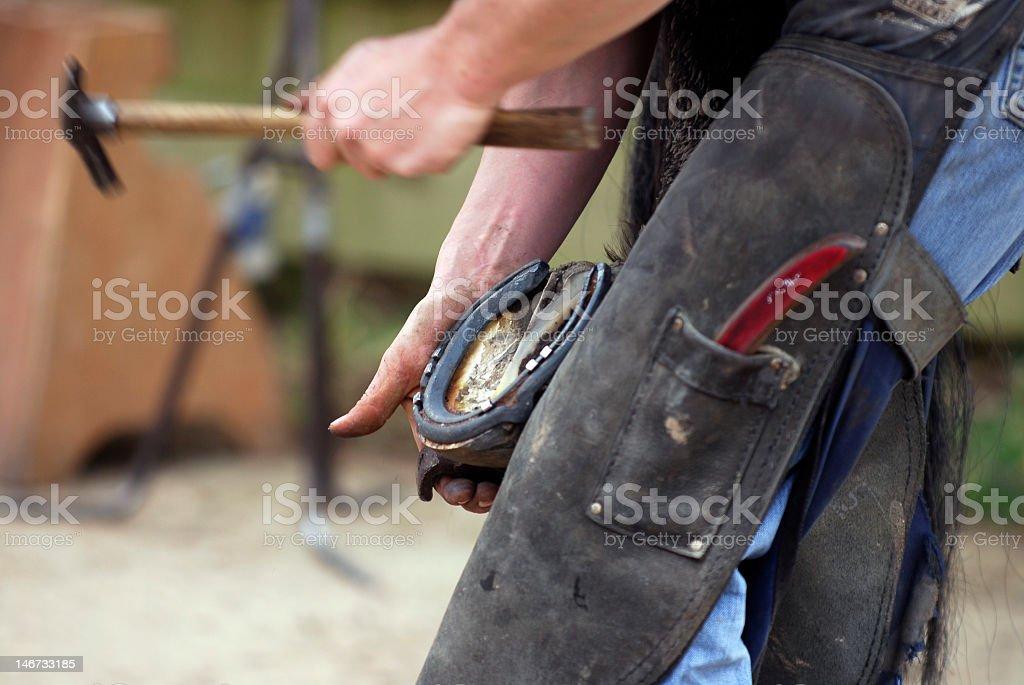 Man installing horseshoe with hammer stock photo