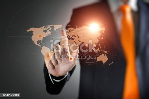 544976664 istock photo Man interacting with virtual world map 484268839