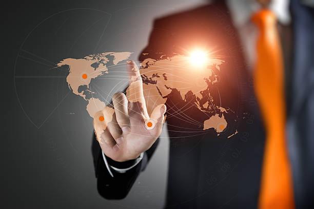 man interacting with virtual world map - new world stockfoto's en -beelden