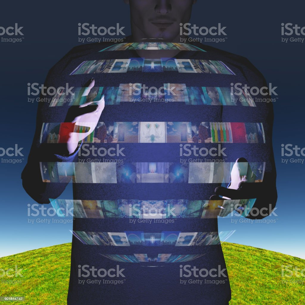 Man intereacts with video sphere display stock photo