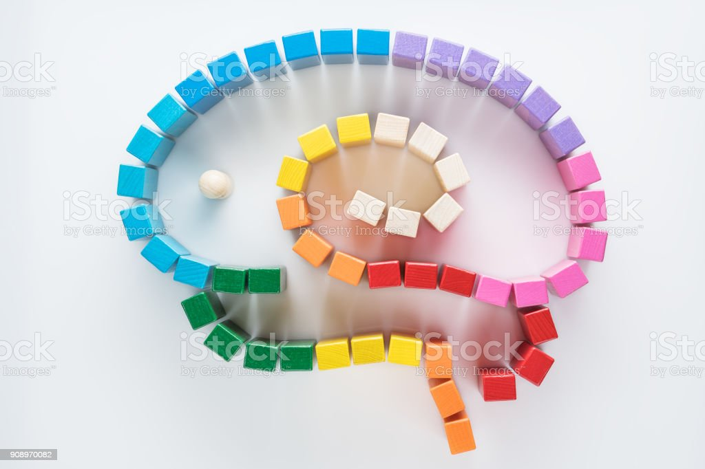 Man into a maze. A man in a labyrinth in the form of a brain, the search for the exit. Top view, flat lay. stock photo