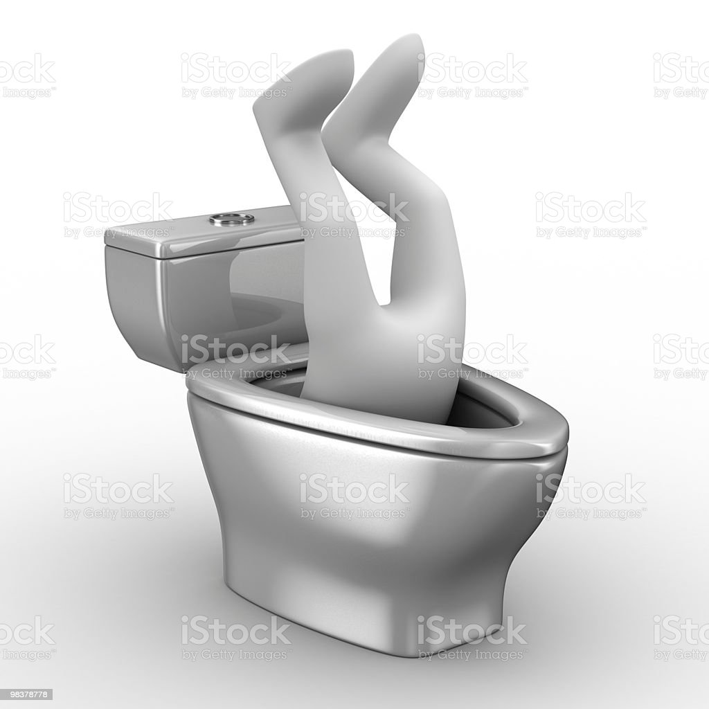 man into toilet bowl. Isolated 3D image royalty-free stock photo