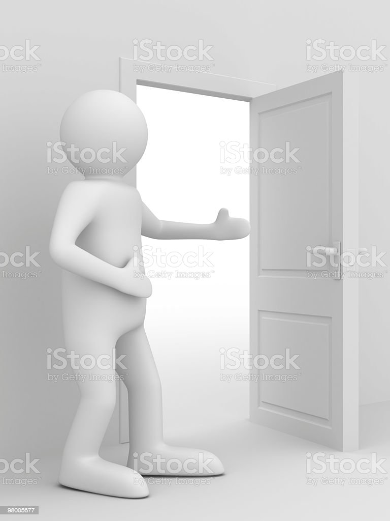 man invites to pass open door. 3D image royalty-free stock photo