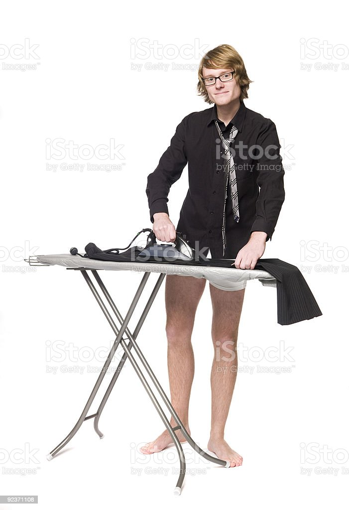 Man ironing his pants royalty-free stock photo