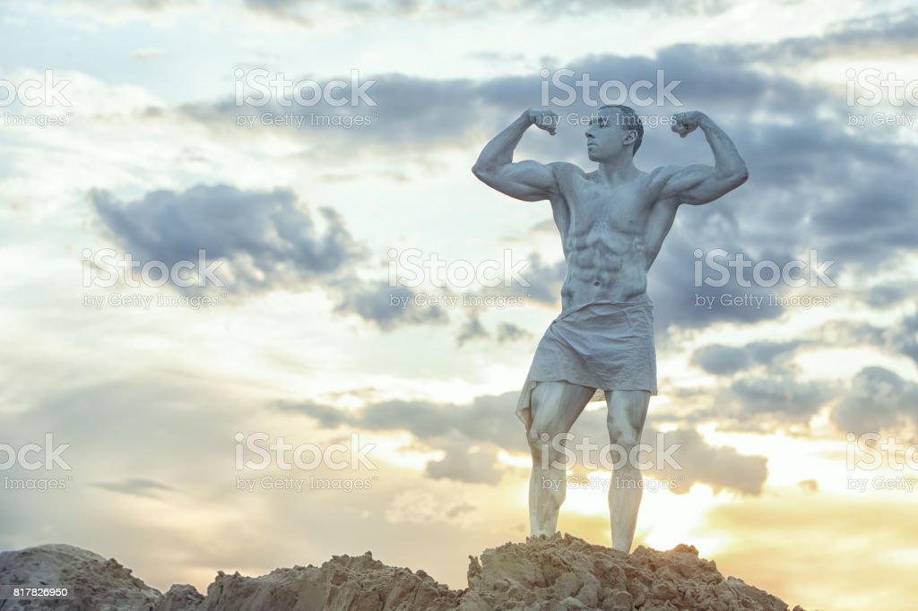 Man is a living statue. stock photo