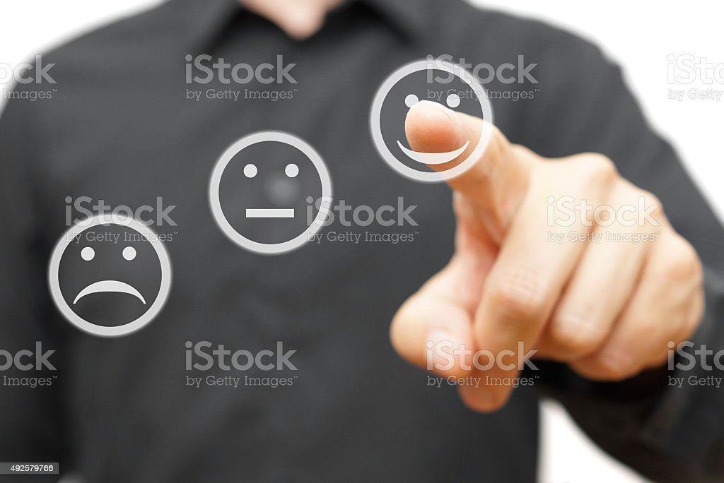 man is choosing happy,positive smile icon, man is choosing happy,positive smile icon, concept of satisfaction and improvment 2015 Stock Photo