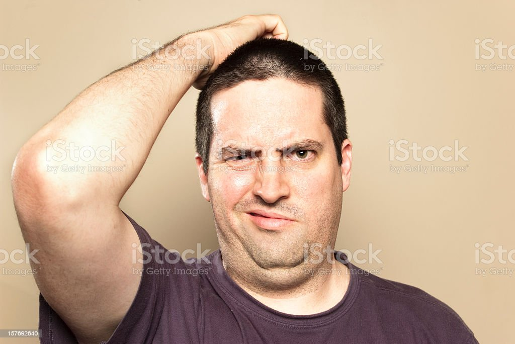 Man is confused stock photo