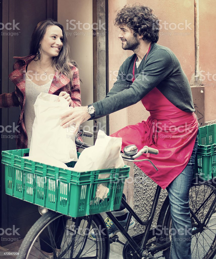 Man is Delivering Home Shopping stock photo