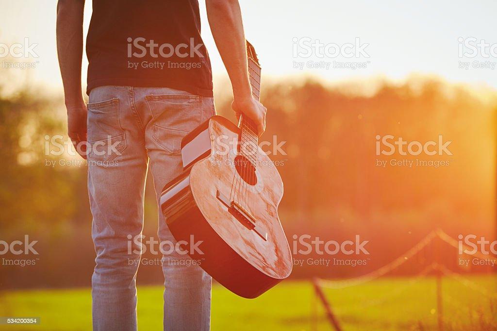 Man is enjoying in springtime stock photo