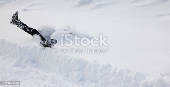 istock Man is falling headfirst into deep snow. Concept of winterly slippery conditions. 872862844