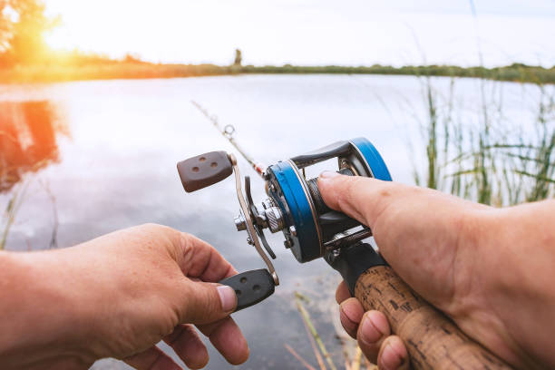 Man is fishing with a backcasting reel A man is fishing with a backcasting reel. Hands, a rod and a backcasting reel in the background of the rising sun fishing line stock pictures, royalty-free photos & images