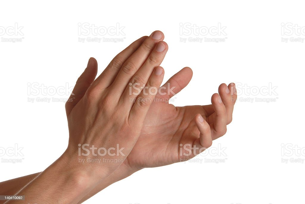 Man is giving applause stock photo