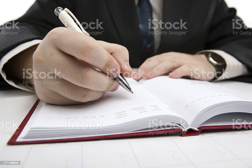 man is preparing for written work royalty-free stock photo