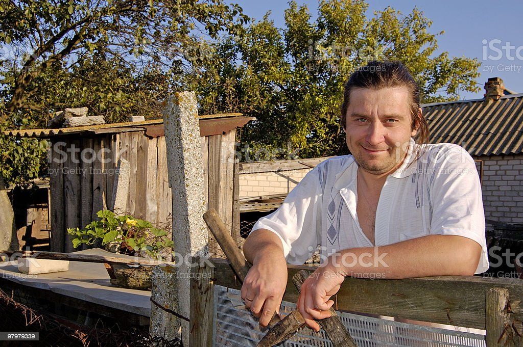 man is resting after work in a countryside royalty-free stock photo