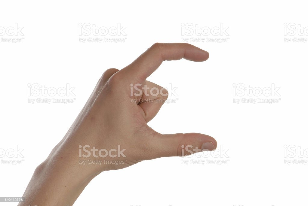 Man is showing a specific sign (c) stock photo