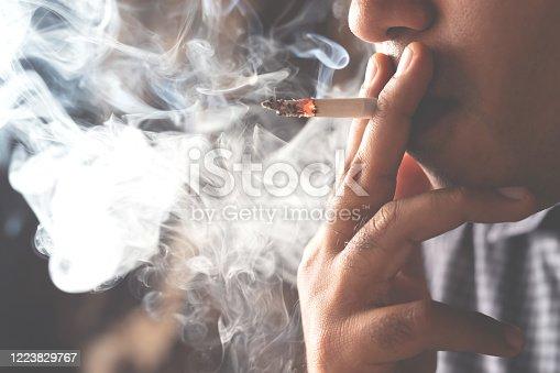 1152920014 istock photo Man is smoking, harmful to health 1223829767