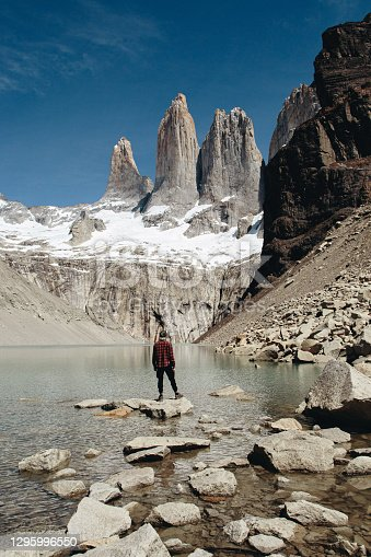 Man is standing at scenic view of Torres del Paine National Park background