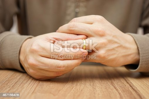 istock Man is taking off the wedding ring 467156428