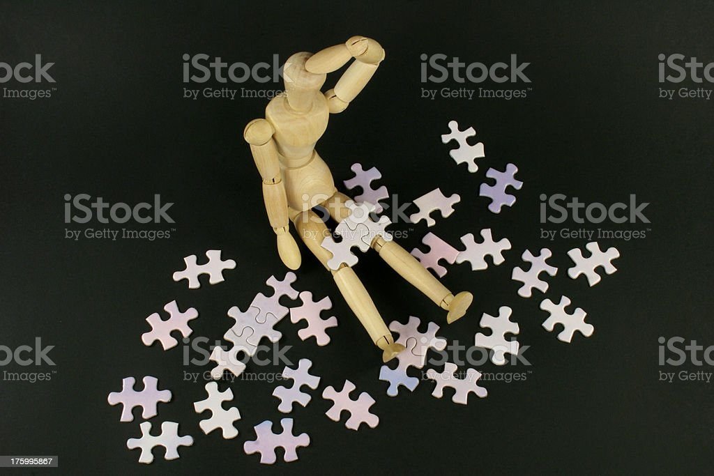 man jigsaw confusion royalty-free stock photo